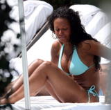 Mel B in blue bikini at pool in Miami